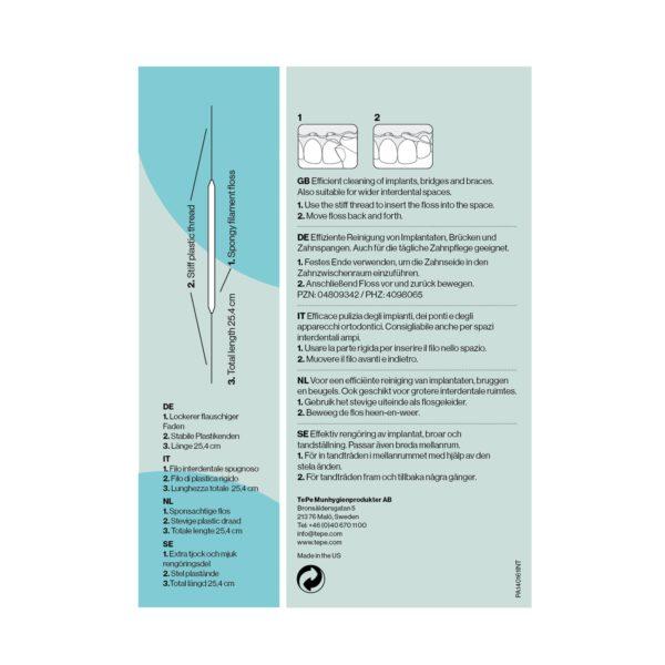 Bridge & Implant Floss packaging back